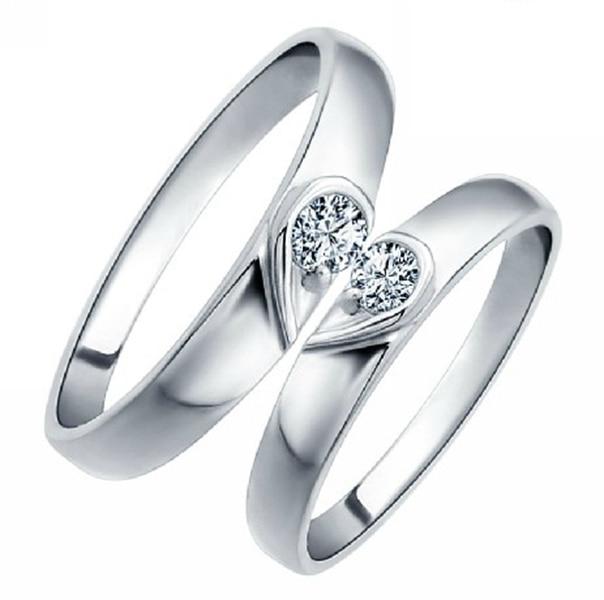 New Wedding Couple Rings For Women & Men Korean Style CZ Diamond