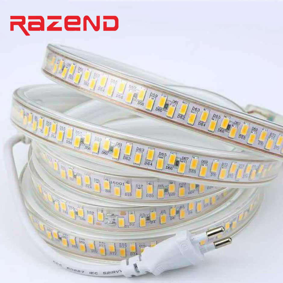 New Arrival 180led/m Waterproof LED Tape 5730 LED Strip Light SMD 5630 220V 240V Power Plug White/Warm White 100m-1m Available