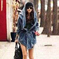LANMREM 2018 New Autumn Long Sleeve Cloak Type Chalaza Hooded Loose Thin Denim Coat Jacket Women Fashion Casual Clothing HA05245