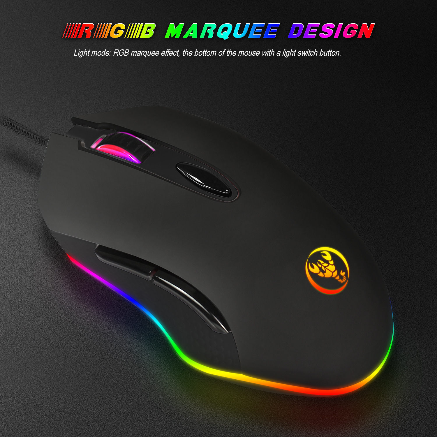 Hongsund RGB macro definition USB Wired Gaming Mouse 6 Buttons 4800DPI  Optical Computer Game Mouse Mice for PC Laptop Notebook 1