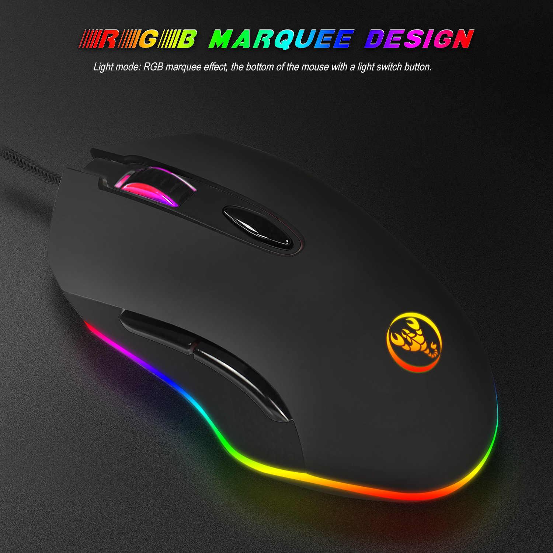 Hongsund RGB macro định nghĩa USB Dây Gaming Mouse 6 Buttons 4800 DPI Máy Tính Quang Học Chuột Chuột Game đối với Máy Tính Xách Tay máy tính xách tay