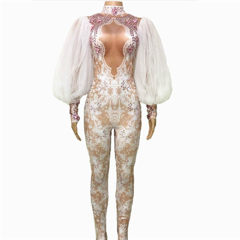 71a416743e Lace Sleeve Rhinestone Jumpsuit Sexy Women Leggings One Piece Performance  Stage Costume Nightclub Outfit Rhinestone Bodysuit