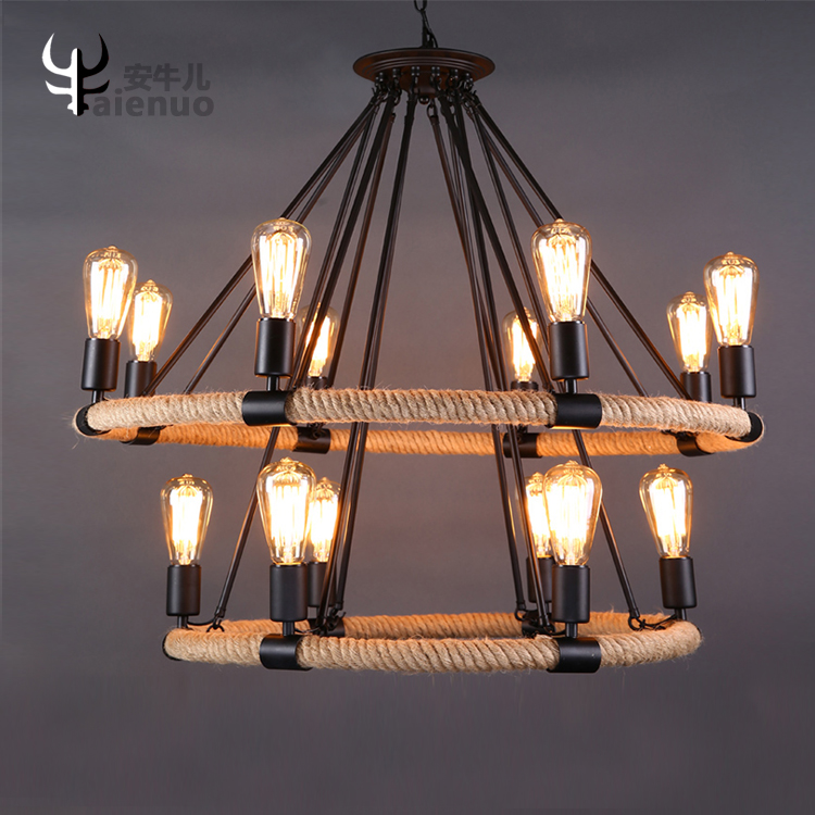 Loft American Iron rope iron pendant light dining room clothing Cafe Vintage industrial  hanging lighting lamp loft vintage edison glass light ceiling lamp cafe dining bar club aisle t300