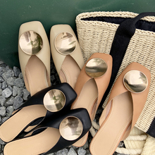 Women Spring Summer Mules Slippers Ladies Square Toe Metal Decor Crystal Casual Outdoor Flat Slippers Slip On Half Flip Flops kohuijoo new 2018 spring genuine cow leather crystal sandals wedges woman slippers slip on ladies pumps loafers mules flip flops