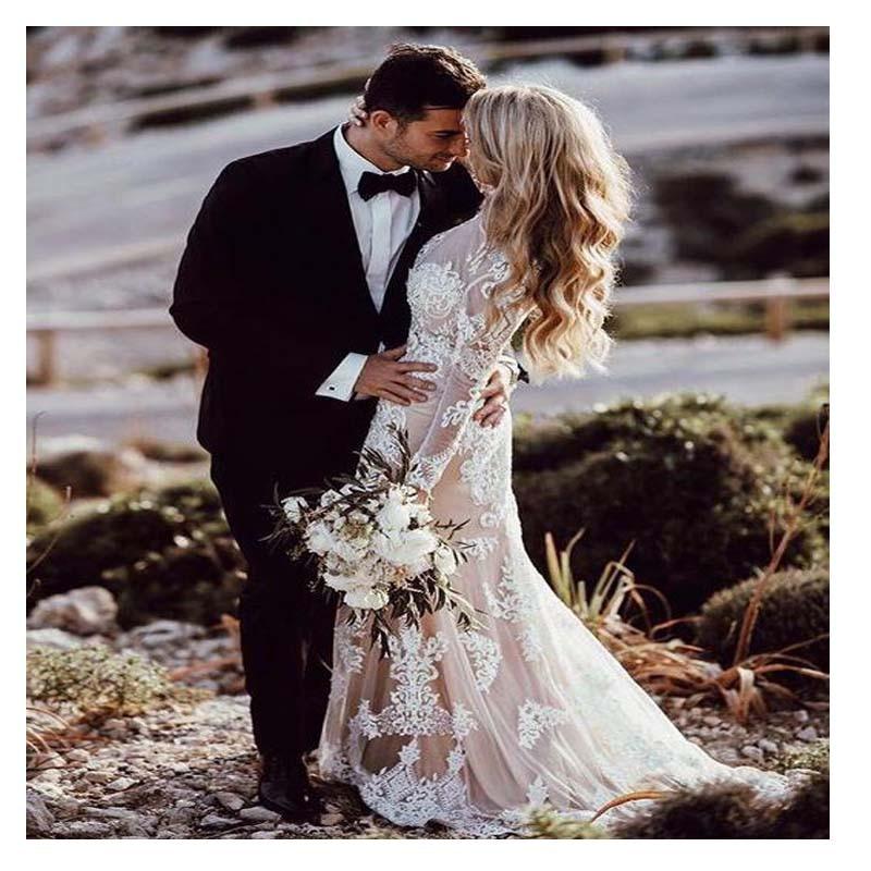 LORIE Boho Long Sleeve Wedding Dress 2019 Robe de mariee Vintage Champagne Satin New Bridal Dress