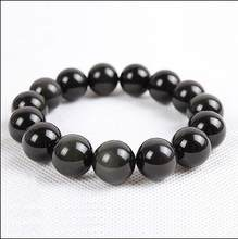 ZCD 2017 629+++ Natural Obsidian Bracelet Mens Watch beads on Ms.(China)