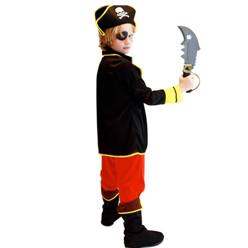 Kids Boys Pirate Costume Cosplay Set For Children Birthday School Carnival Party Fancy Dress 3