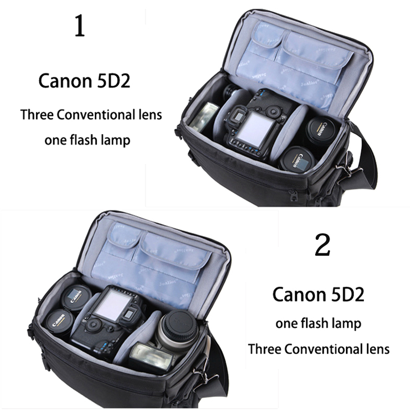 Jealiot Camera Bag photo foto case Shockproof Waterproof DSLR SLR Messenger Bag for Canon Nikon Sony Panasonic Lens rain cover-in Camera/Video Bags from Consumer Electronics    3