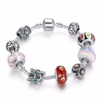 Acrylic Charms Bracelet Women Multi Color Bracelets Bangles For Female Silver Plated Diy Jewelry PA1437