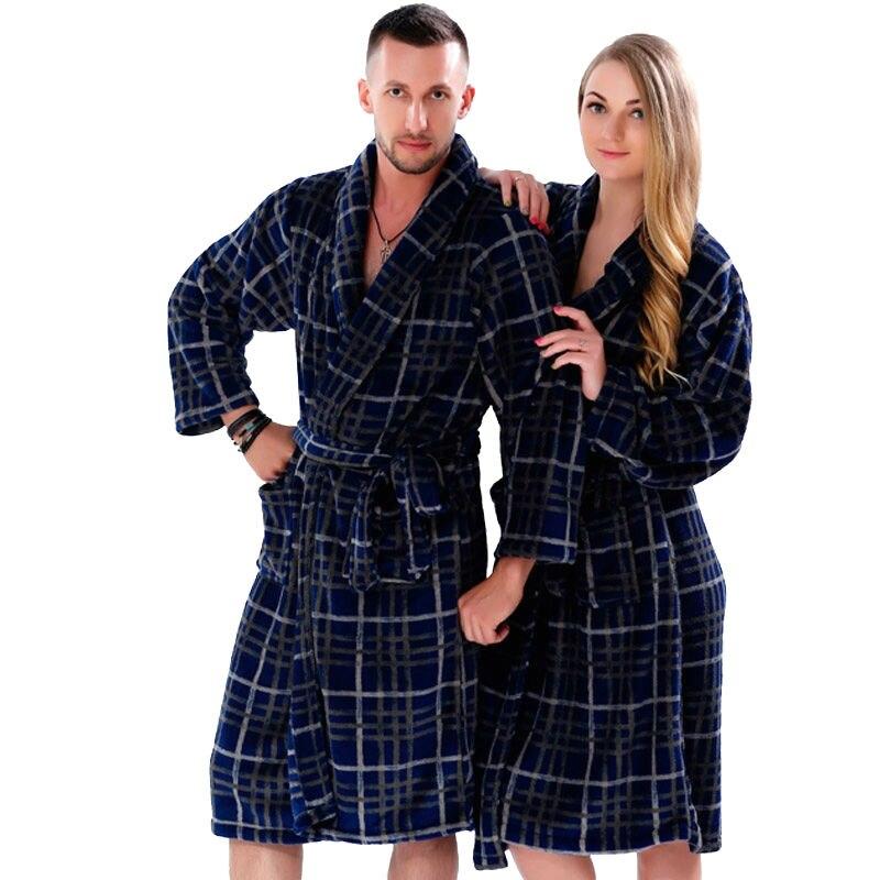 New Couples Coral Fleece Bath Robe Navy Plaid Nightgown Sleepwear ...