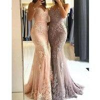Розовое платье подружки невесты длинные 2019 платье Русалка на бретельках кружево Свадебная вечеринка платье Bruidsmeisjes Jurk для женщин Свадебные