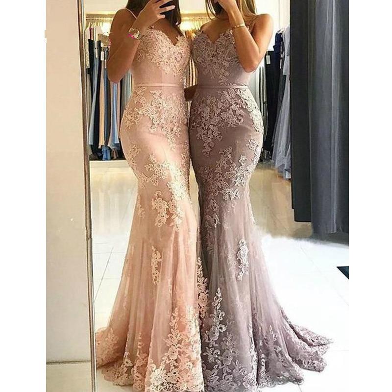 Pink   Bridesmaid     Dress   Long 2019 Spaghetti Straps Mermaid Lace Wedding Party   Dress   Bruidsmeisjes Jurk Women Wedding Guest   Dresses