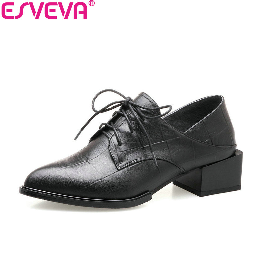 ESVEVA 2018 Women Pumps Western Style Spring Autumn Square High Heels Cow Leather PU Pointed Toe Fashion Ladies Shoes Size 34-42 esveva 2017 new pointed toe pu women pumps lace up british style fashion shoes women spring square high heel pumps size 34 39