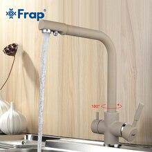 Frap Новинка хаки Цвет Кухня кран на бортике смеситель 180 градусов вращения с очистки воды Особенности F4352-20
