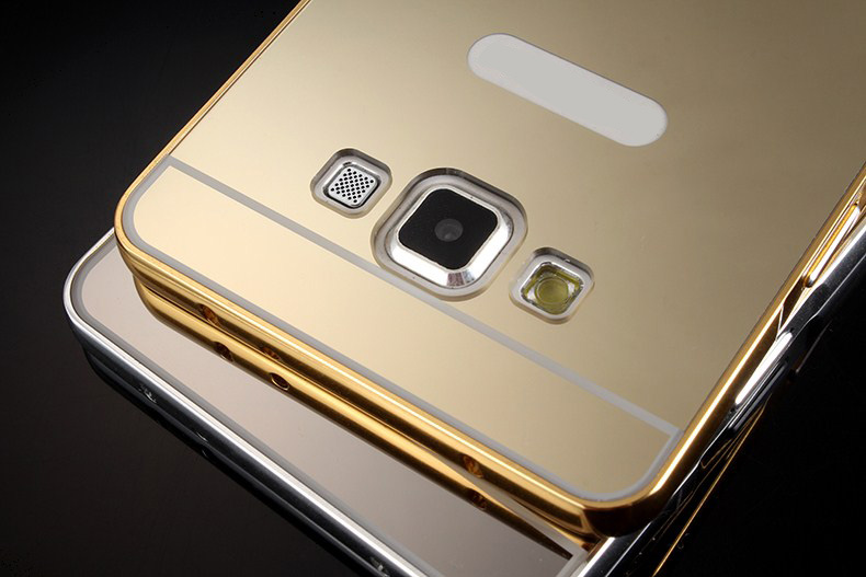 Fundas For Samsung Galaxy A3 A5 A7 A8 2016 A310 A510 A710 Case Luxury Aluminum Metal Frame + Acrylic Mirror back Cover Phone Bag