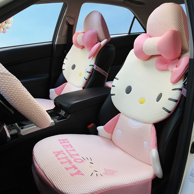 2017 NEW 3D ICE SILK Universal Hello Kitty Car Seat Covers Cartoon For Summer Interior