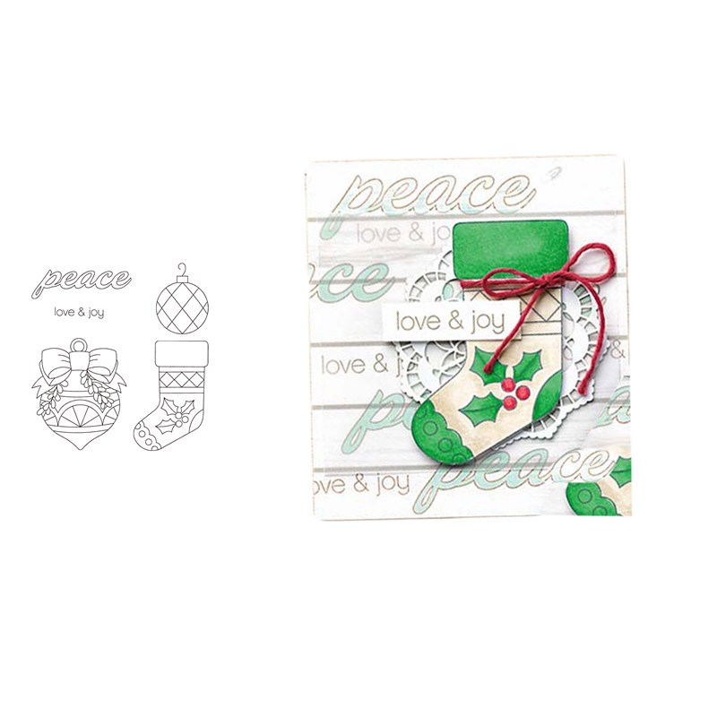MERRY CHRISTMAS SOCK Transparent Clear Silicone Stamp Set for scrapbooking photo album Decorative rubber stamps for card making in Cutting Dies from Home Garden