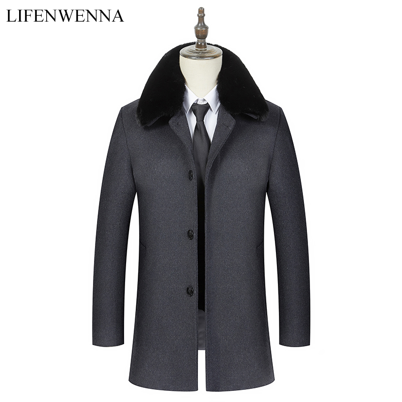 2019 Autumn Winter Coat Men Wool Warm Windbreaker Woolen Overcoat Business Fur Collar Jacket Men's Casual Slim Fit Trench Coats(China)
