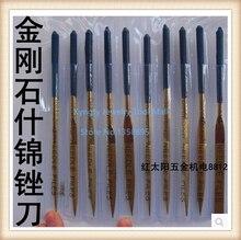 Free Shipping 4x160mm Titanium Coated Diamond Needle Files Set 10pcs/set Carving Tool Kit For Metal/Stone/Glass