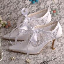 Wedopus MW478ผู้หญิงซาตินและลูกไม้ชี้นิ้วเท้ารองเท้าแต่งงานเจ้าสาวด้วยริบบิ้นผูก