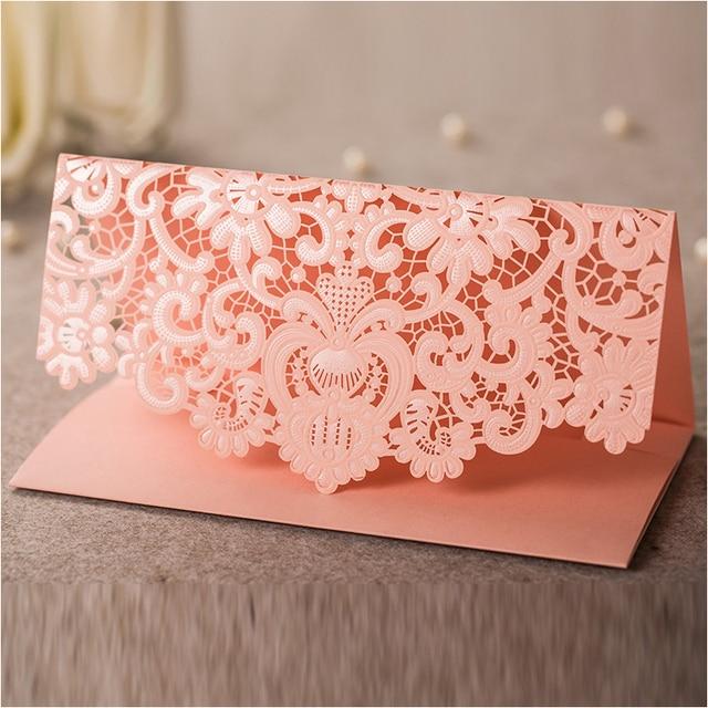 elegant envelopes for wedding 180x95mm pink laser cut wedding favor