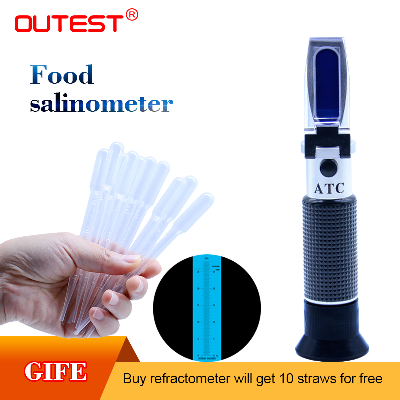 Numérique réfractomètre Alimentaire salinité mètre Salinometer réfractomètre Salinité compteur 0-28% lunette automatique Sel contenu testeur