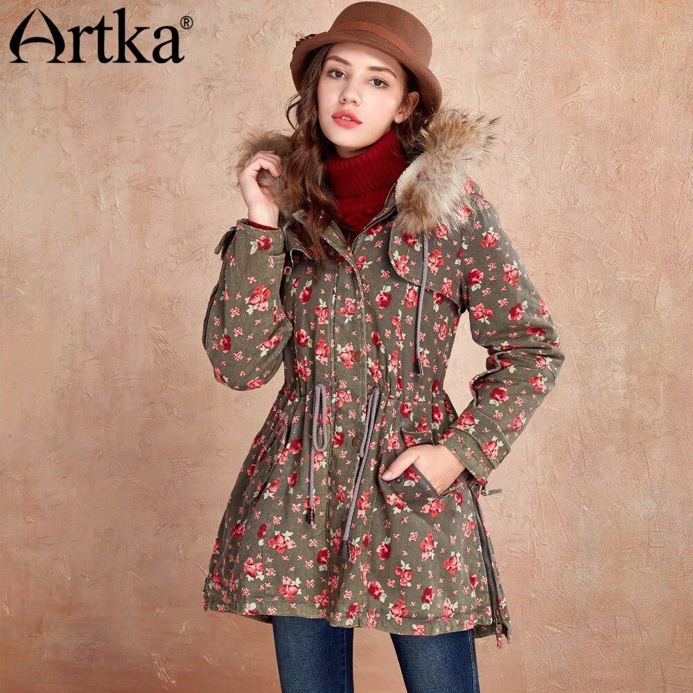 ARTKA Women's Fur   Parka   2018 Winter Jacket Female Hooded Outerwear Plus Size Windbreaker Drawstring Belt Warm Overcoat MA11046D