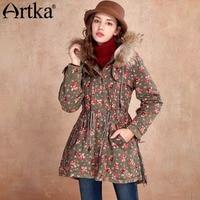 Artka Women S Autumn Winter Vintage Hooded Collar Long Sleeve Collect Waist Printed Midi Pattern Loose