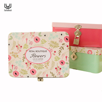 Hot Selling Large Lovely Portable Tinplate Iron Storage Box With Lock Sundries Candy Jewelry Cosmetic Organizer
