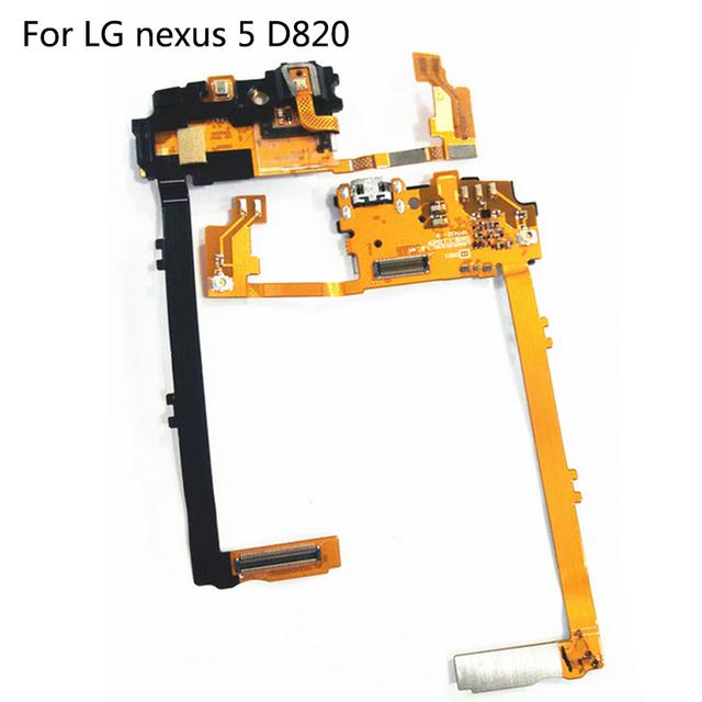Peças de telefone originais para lg nexus 5 d820 usb doca conector de Carregamento Substituição Porto Flex Cable 100% Brand New Em estoque