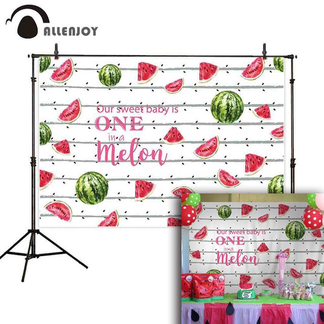 Allenjoy first birthday backdrops photocall watermelon painting baby shower custom background photo photography photophone