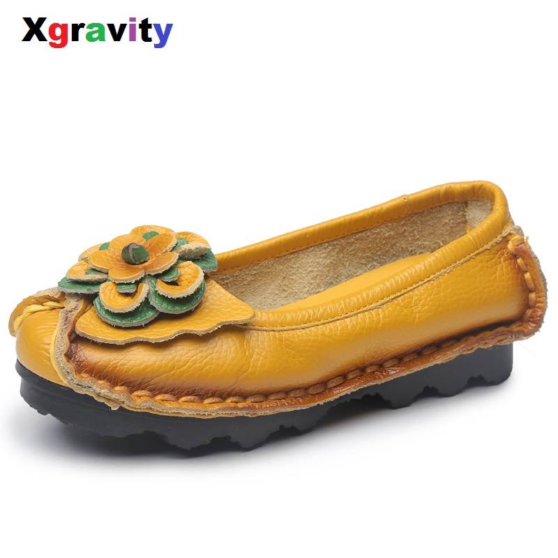 XGRAVITY Hot Sale Original Vintage Lady Closed Toe Classic Ethnic Woman Vintage Flat Shoes Genuine Leather Floral Loafer C171 xgravity hot sale original vintage lady