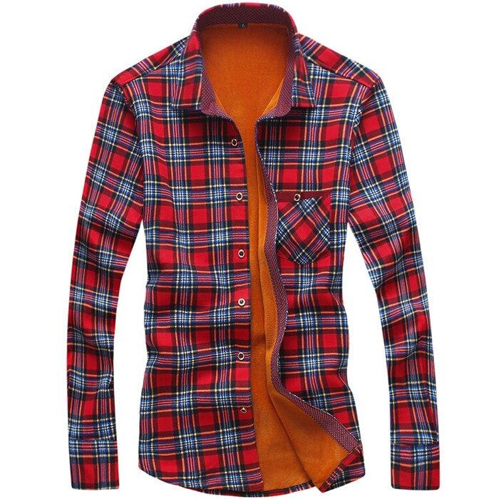 Flannel Shirt Men Winter Shirts Men Christmas Shirt Men's Plaid Warm  Long Sleeve Winter Slim Dress Shirt