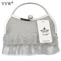 Diamonds Hollow Clutch Bag for Women Gold Ruffles Evening Bag Brand Luxury Women's Handbags Silver Lady's Chain Shoulder Bag