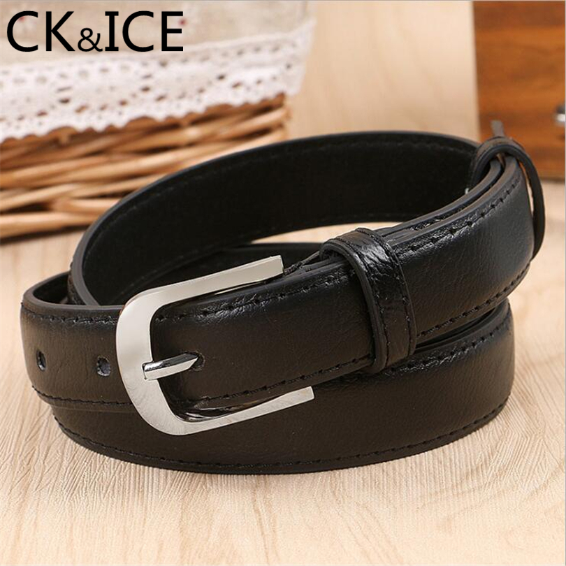 CK&ICE Vintage Men Women Belt Faux Leather Metal Pin Buckle Smooth Face Accessories Belts For Men Women Slim Belt Unisex
