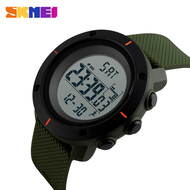 SKMEI Pedometer Sports Watches Men Military Chronograph Timekeeping LED Electronic Digital Wristwatches Relogio Masculino