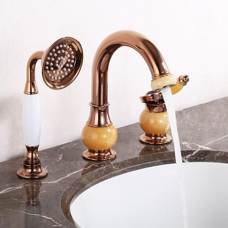 R 8436 Luxury Rose Gold Latão Jade Pedra Cachoeira Torneira Pia Do Banheiro Bacia Vanity Toque Mixer Com Chuveiro De Mão De Bronze Cabeça In