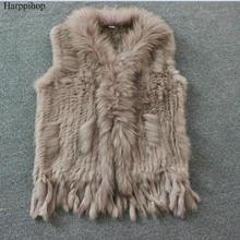 Harppihop Женский натуральный мех кролика жилет с воротником из меха енота жилет/куртки кролика рекс вязаный зимний