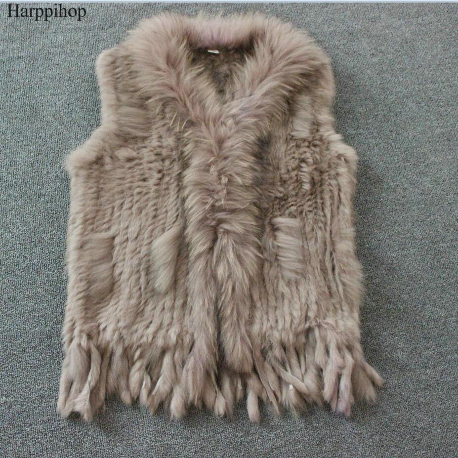 Harppihop Free Shipping Womens Natural Real Rabbit Fur Vest With Raccoon Fur Collar Waistcoat/jackets Rex Rabbit Knitted Winte