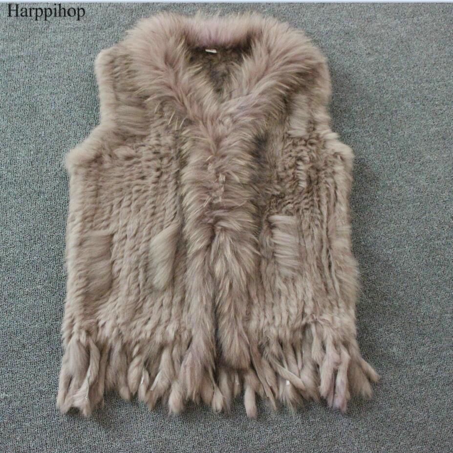 Harppihop livraison gratuite femmes naturel réel lapin fourrure gilet avec fourrure de raton laveur col gilet/vestes rex lapin tricoté winte
