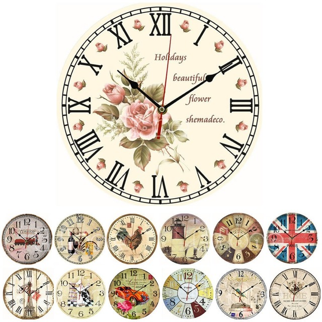 2017 modern design wooden wall clock vintage rustic shabby chic