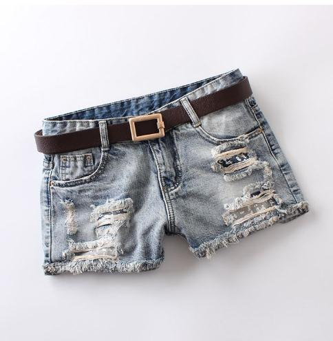 Short Femme Sexy Letter Print Female Ripped Short Summer Women Hole Denim Shorts Jean Shorts Low Waist Shorts Without Belt J2714
