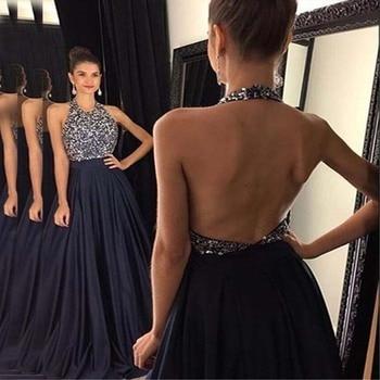 Long Evening Dresses A-line Satin Backless Beaded Dubai Saudi Arabian Long Evening Prom Dress abendkleider 2019