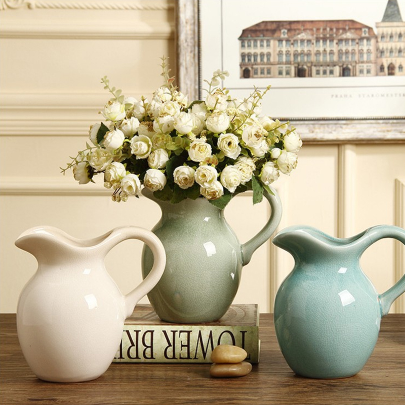 American country milk jug ceramic vase decoration creative European flower Water container vase for home wedding