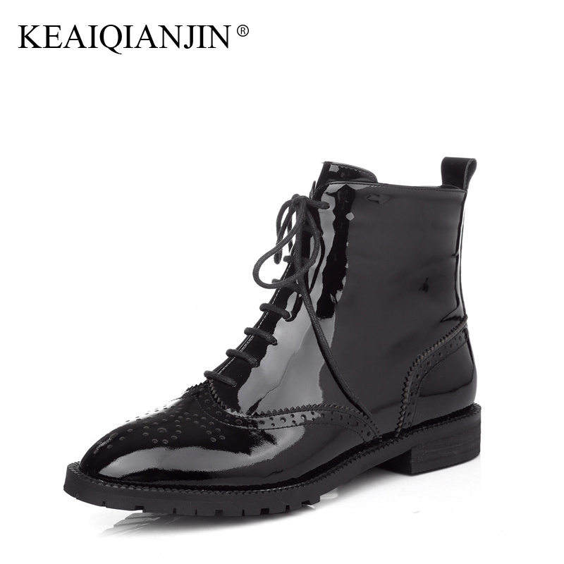 KEAIQIANJIN Woman Lace Up Martens Boots Plus Size 33 - 43 Autumn Winter Patent Leather Bullock Shoes Genuine Leather Ankle Boots keaiqianjin woman patent leather pumps plus size 33 43 high shoes spring autumn metal decoration black genuine leather pumps