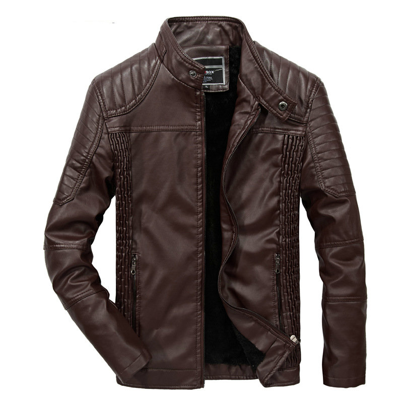 Newest Men Leather Jacket Winter Fashion PU Leather Casual Biker Jacket Pilot Leather Jacke Coats Outwear Drop Shipping ABZ190