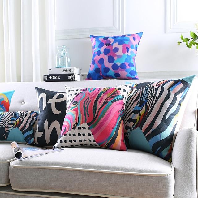groothandel pop vogel kussen interieur kleurrijke zebra paard kussen linnen katoen kussens decoratieve kussens gratis verzending