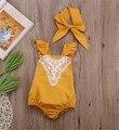 Nova Da Criança Do Bebê Meninas Voar Manga Macacão com Headbands Lace Bordados Halter Moda Das Meninas Bonitos Macacão
