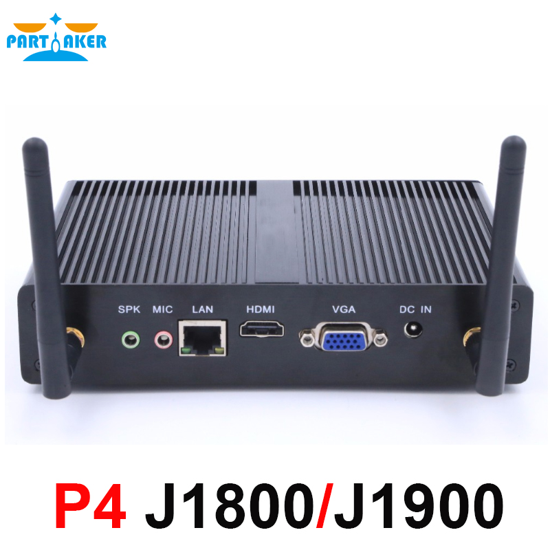 P4 Fanless Intel Celeron J1800 Dual Core Mini PC J1900 Quad Core 2.0GHz Windows7/8/10 Mini Computer HDMI WiFi Dual LAN TV Box