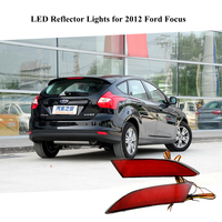 Red Lights For 2012 Ford Focus Accessories LED Rear Bumper Reflectors Light Red Lights Brake Warning